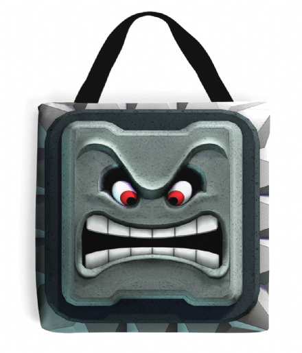 Mushroom Kingdom Thwomp Stone Super Mario Character Tote Bag
